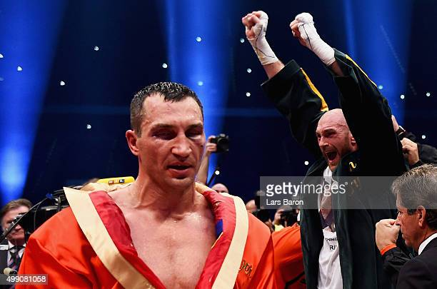 Tyson Fury celebrates as he defeats Wladimir Klitschko to become new World Heavyweight Champion during the IBF IBO WBA WBO Heavyweight World...
