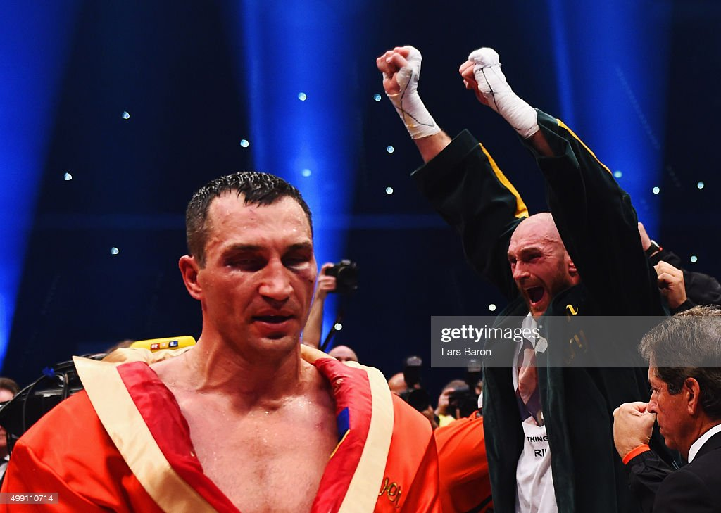 <a gi-track='captionPersonalityLinkClicked' href=/galleries/search?phrase=Tyson+Fury&family=editorial&specificpeople=5739191 ng-click='$event.stopPropagation()'>Tyson Fury</a> celebrates as he defeats <a gi-track='captionPersonalityLinkClicked' href=/galleries/search?phrase=Wladimir+Klitschko&family=editorial&specificpeople=210650 ng-click='$event.stopPropagation()'>Wladimir Klitschko</a> to become new World Heavyweight Champion during the IBF IBO WBA WBO Heavyweight World Championship contest at Esprit-Arena on November 28, 2015 in Duesseldorf, Germany.