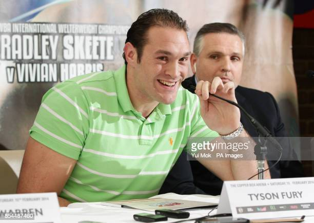 Tyson Fury during the press conference at Fredericks Restaurant London