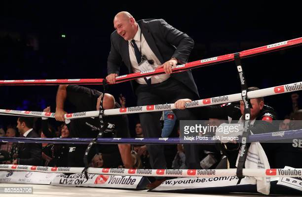 Tyson Fury enters the ring after the Joseph Parker v Hughie Fury WBO World Heavyweight Title bout at Manchester Arena