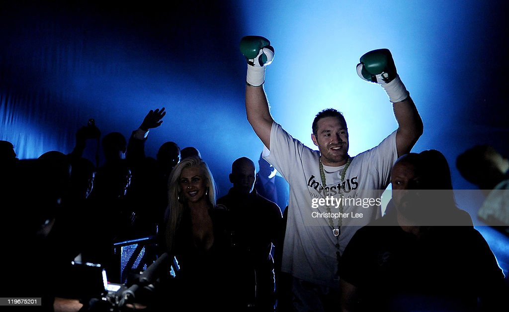 Tyson Fury enters the ring during the British & Commonwealth Heavyweight Title Fight between Dereck Chisora and Tyson Fury at Wembley Arena on July 23, 2011 in London, England.