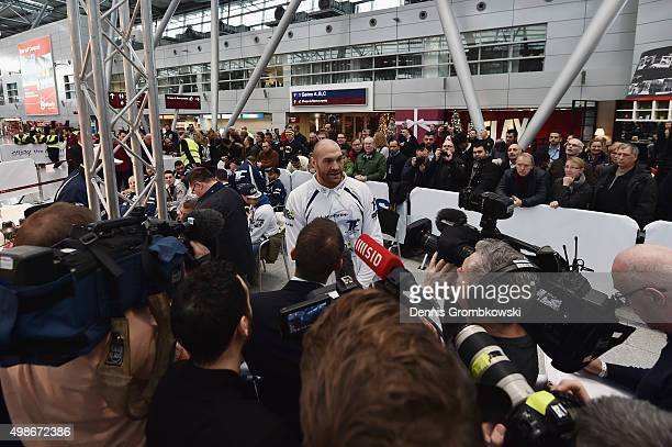 Tyson Fury faces the media prior to a Media Training Session at Dusseldorf Airport on November 25 2015 in Duesseldorf Germany
