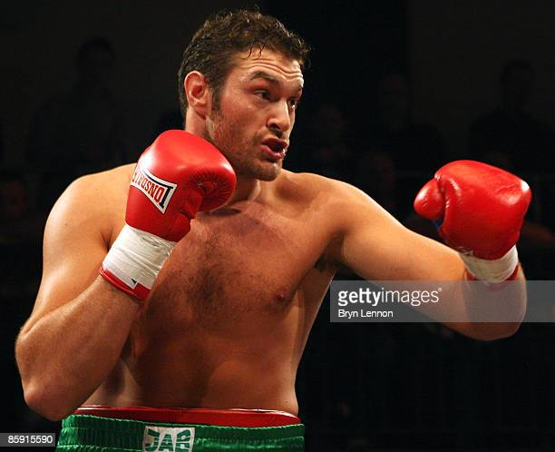 Tyson Fury in action against Mathew Ellis prior to Commonwealth Welterweight Title fight between John O Donnell and Craig Watson at York Hall on...