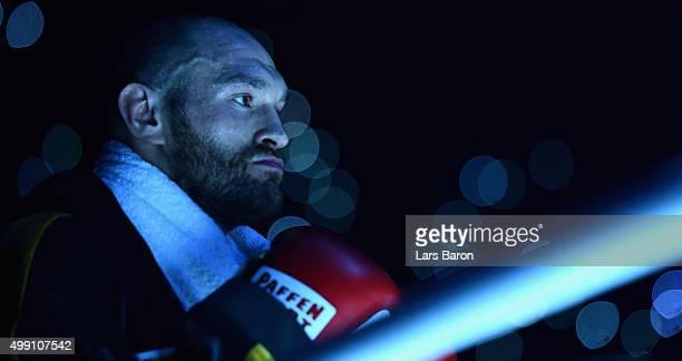 Tyson Fury is seen prior to his IBF/IBO/WBA/WBO World Heavyweight Championship title fight against Wladimir Klitschko at EspritArena on November 28...