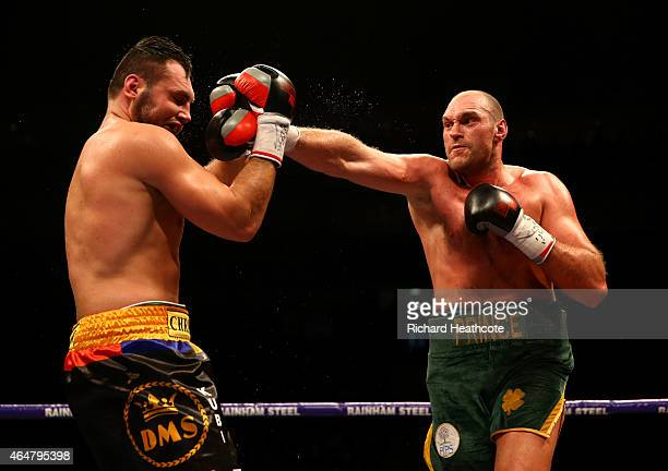 Tyson Fury on his way to victory over Christian Hammer in a Heavyweight Contest by singing 'Elvis' at the O2 Arena on February 28 2015 in London...