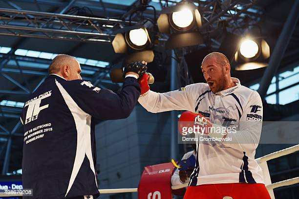 Tyson Fury practices during a Media Training Session at Dusseldorf Airport on November 25 2015 in Duesseldorf Germany