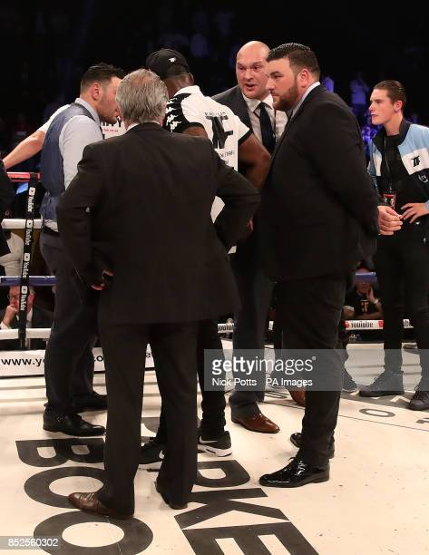 Tyson Fury protests to British Boxing Board of Control's Robert Smith after Joseph Parker beat Hughie Fury on points in the WBO World Heavyweight...