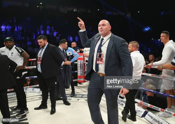 Tyson Fury rants at a member of the British Boxing Board of Control after the WBO World Heavyweight Title fight between Joseph Parker and Hughie Fury...