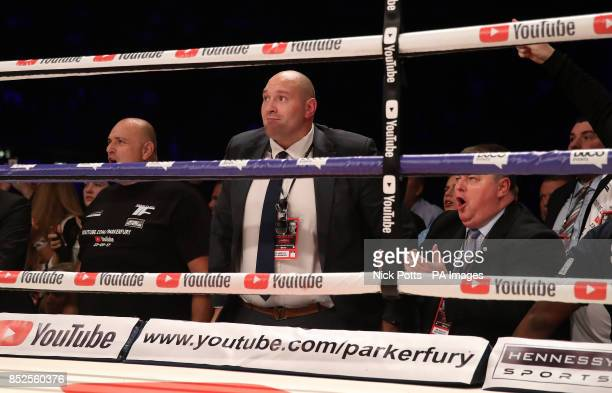 Tyson Fury ringside during the Joseph Parker and Hughie Fury WBO World Heavyweight Title bout at Manchester Arena PRESS ASSOCIATION Photo Picture...