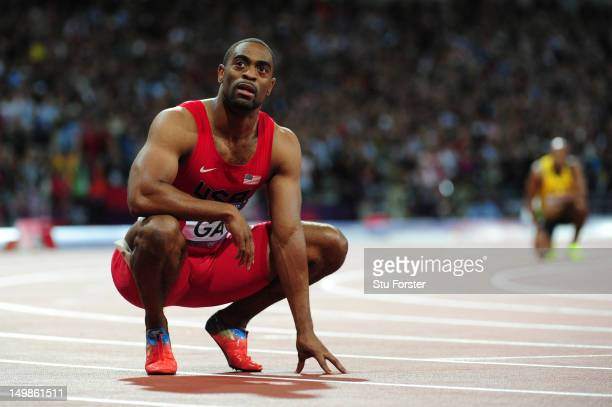 Tyson Gay of the United States looks on after the Men's 100m Final on Day 9 of the London 2012 Olympic Games at the Olympic Stadium on August 5 2012...