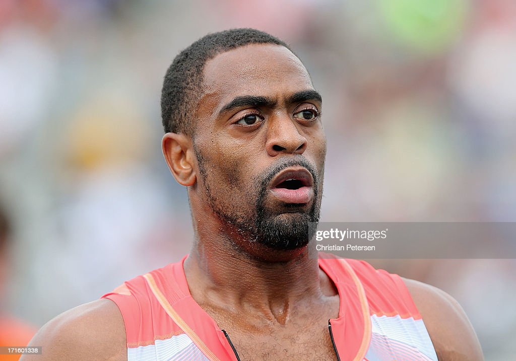 <a gi-track='captionPersonalityLinkClicked' href=/galleries/search?phrase=Tyson+Gay&family=editorial&specificpeople=543306 ng-click='$event.stopPropagation()'>Tyson Gay</a> reacts after winning the Men's 200 Meter Dash final on day four of the 2013 USA Outdoor Track & Field Championships at Drake Stadium on June 23, 2013 in Des Moines, Iowa.