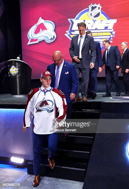 Tyson Jost celebrates with the Colorado Avalanche after being selected tenth overall during round one of the 2016 NHL Draft on June 24 2016 in...