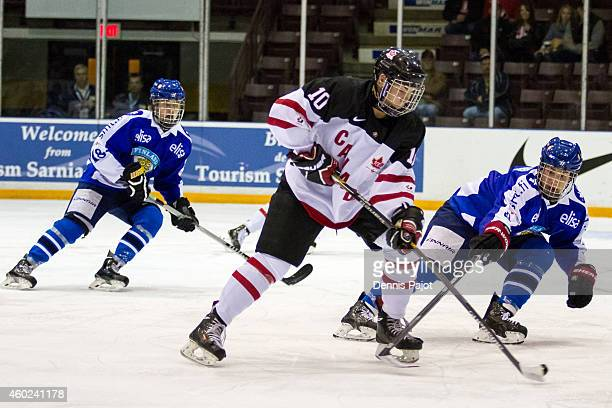 Tyson Jost of Canada White moves the puck against Finland during the World Under17 Hockey Challenge on November 2 2014 at the RBC Centre in Sarnia...