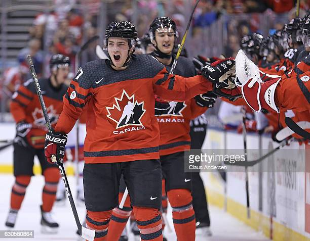 Tyson Jost of Team Canada celebrates a goal against Team Russia during a game at the the 2017 IIHF World Junior Hockey Championships at the Air...