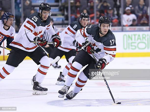 Tyson Jost of Team Canada skates away with the puck against Team Slovakia during a preliminary game in the 2017 IIHF World Junior Hockey Championship...