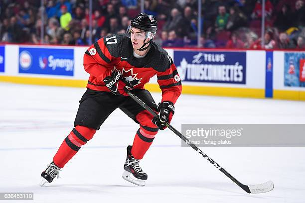 Tyson Jost of Team Canada skates during the IIHF exhibition game against Team Finland at the Bell Centre on December 19 2016 in Montreal Quebec...
