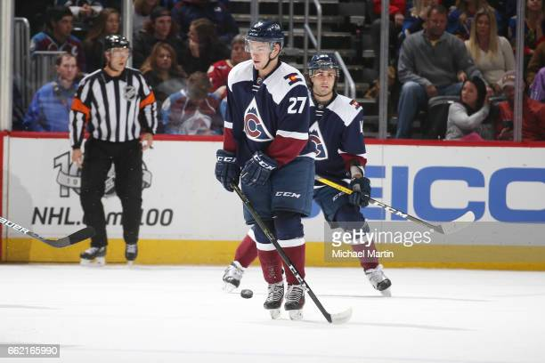 Tyson Jost of the Colorado Avalanche blocks a shot by the St Louis Blues at the Pepsi Center on March 31 2017 in Denver Colorado