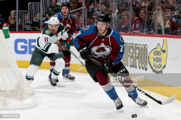 Tyson Jost of the Colorado Avalanche brings the puck out from behind the goal while playing the Minnesota Wild at the Pepsi Center on April 6 2017 in...