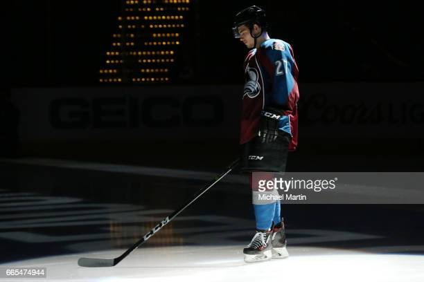 Tyson Jost of the Colorado Avalanche is introduced prior to the game against the Minnesota Wild at the Pepsi Center on April 6 2017 in Denver Colorado