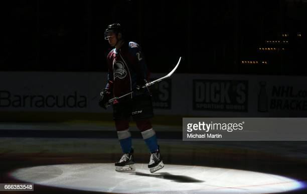 Tyson Jost of the Colorado Avalanche is introduced prior to the game against the Minnesota Wild at the Pepsi Center on April 6 2017 in Denver...