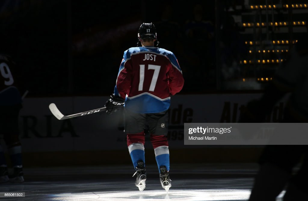 Tyson Jost #17 of the Colorado Avalanche is introduced prior to the game against the St. Louis Blues at the Pepsi Center on October 19, 2017 in Denver, Colorado.