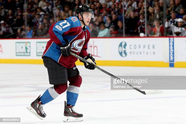 Tyson Jost of the Colorado Avalanche plays the Minnesota Wild at the Pepsi Center on April 6 2017 in Denver Colorado