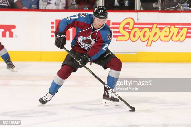Tyson Jost of the Colorado Avalanche skates against the Chicago Blackhawks at the Pepsi Center on April 4 2017 in Denver Colorado The Avalanche...