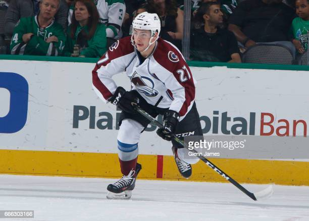 Tyson Jost of the Colorado Avalanche skates against the Dallas Stars at the American Airlines Center on April 8 2017 in Dallas Texas