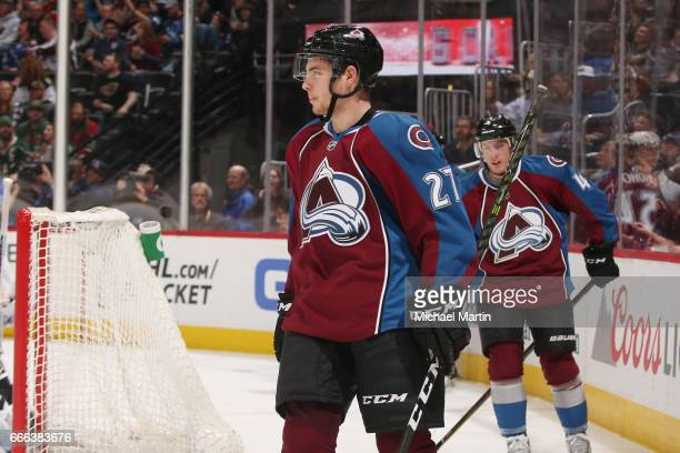 Tyson Jost of the Colorado Avalanche skates against the Minnesota Wild at the Pepsi Center on April 6 2017 in Denver Colorado