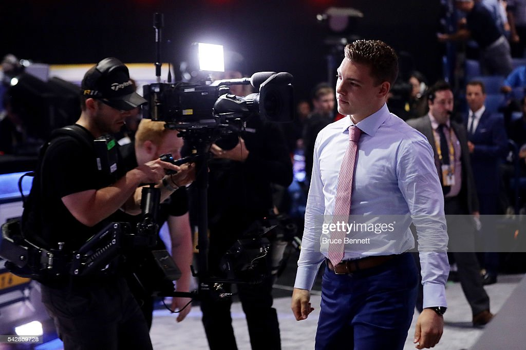 <a gi-track='captionPersonalityLinkClicked' href=/galleries/search?phrase=Tyson+Jost&family=editorial&specificpeople=13789246 ng-click='$event.stopPropagation()'>Tyson Jost</a> reacts after being selected tenth overall by the Colorado Avalanche during round one of the 2016 NHL Draft on June 24, 2016 in Buffalo, New York.