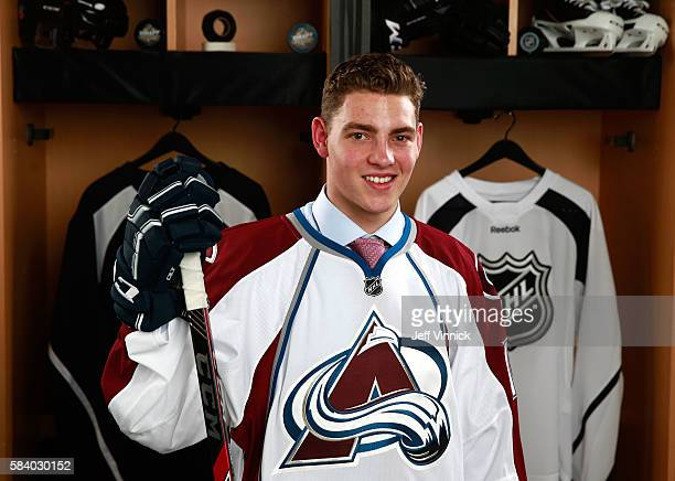 Tyson Jost selected tenth overall by the Colorado Avalanche poses for a portait during round one of the 2016 NHL Draft at First Niagara Center on...