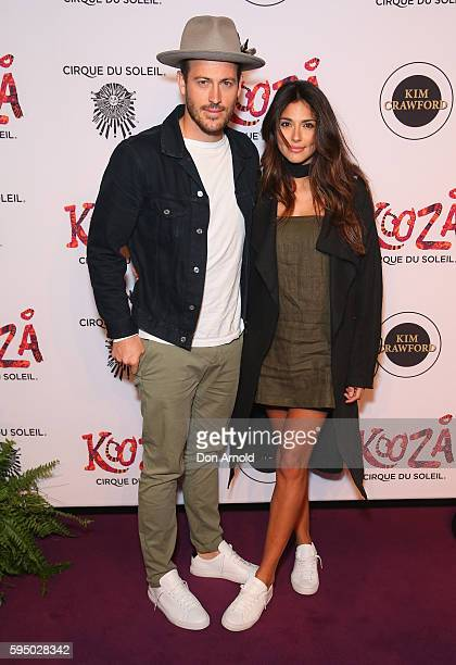 Tyson Mullane and Pia Miller pose during the Cirque du Soleil KOOZA Sydney Premiere at The Entertainment Quarter on August 25 2016 in Sydney Australia