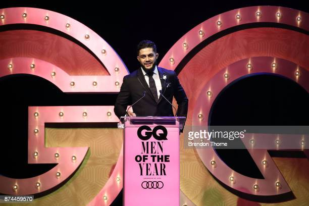 Tyson Pedro presents the award for Sporsman of the Year during the GQ Men Of The Year Awards Ceremony at The Star on November 15 2017 in Sydney...