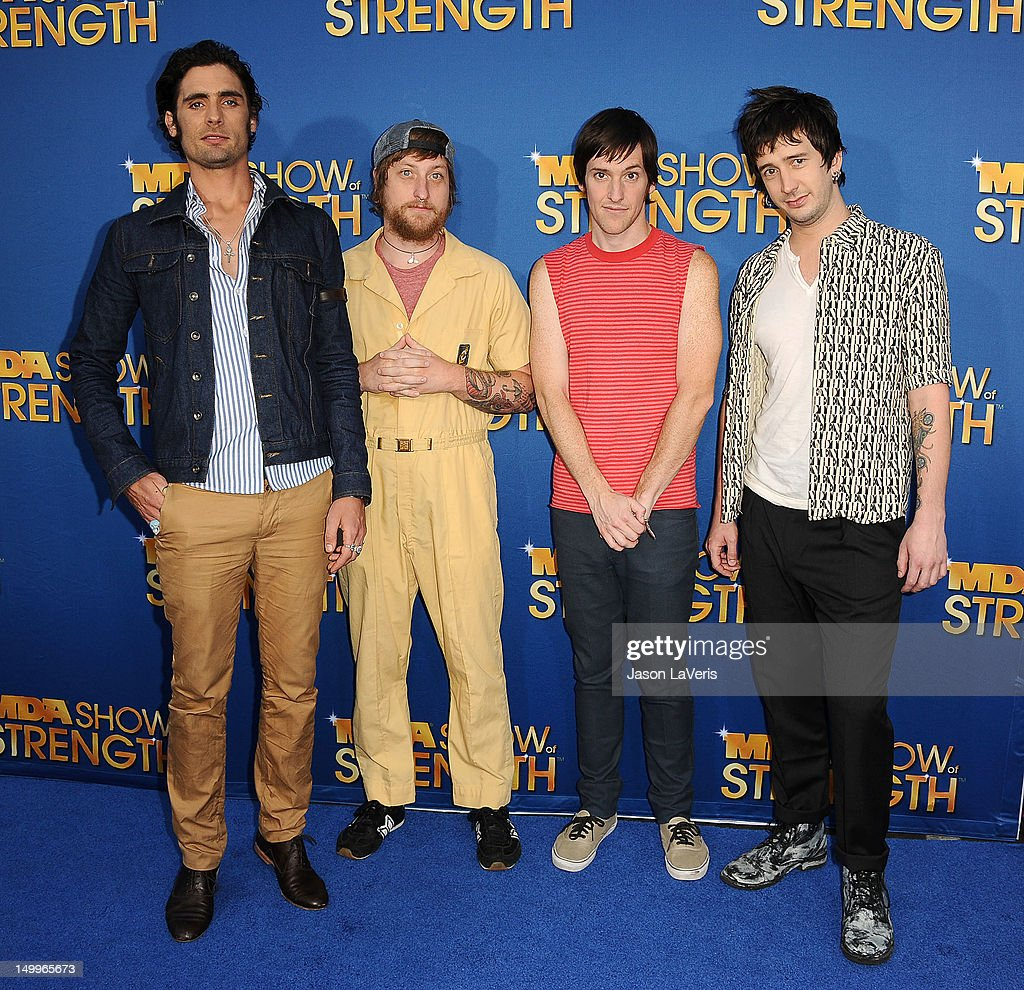 Tyson Ritter, Chris Gaylor, Mike Kennerty and Nick Wheeler of The All-American Rejects attend the MDA Labor Day Telethon at CBS Studios on August 7, 2012 in Los Angeles, California.