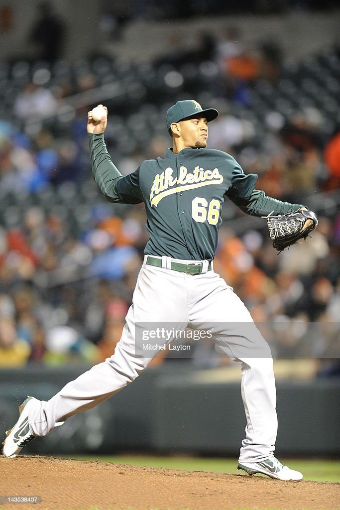 Tyson Ross #66 of the Oakland Athletics during a baseball game against the Baltimore Orioles at Oriole Park at Camden Yards on April 28, 2012 in Baltimore, Maryland.