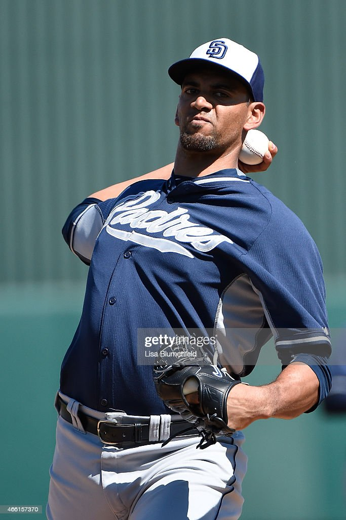 Tyson Ross #38 of the San Diego Padres pitches against the Los Angeles Angels of Anaheim at Tempe Diablo Stadium on March 13, 2015 in Tempe, Arizona.