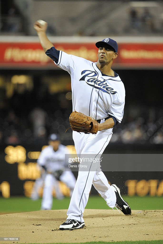 Tyson Ross #38 of the San Diego Padres pitches during the second inning of a baseball game against the Arizona Diamondbacks at Petco Park on September 24, 2013 in San Diego, California.
