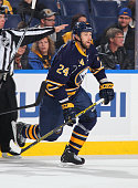 Tyson Strachan of the Buffalo Sabres skates against the Boston Bruins on October 30 2014 at the First Niagara Center in Buffalo New York