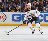 Tyson Strachan of the Buffalo Sabres skates against the Pittsburgh Penguins on April 11 2015 at the First Niagara Center in Buffalo New York