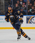 Tyson Strachan of the Buffalo Sabres skates against the Tampa Bay Lightning on December 31 2014 at the First Niagara Center in Buffalo New York