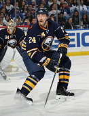 Tyson Strachan of the Buffalo Sabres skates against the Toronto Maple Leafs on November 15 2014 at the First Niagara Center in Buffalo New York