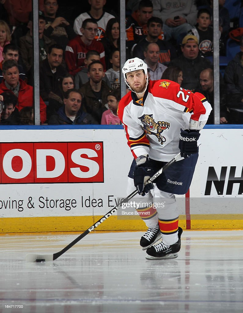Tyson Strachan #23 of the Florida Panthers skates against the New York Islanders at the Nassau Veterans Memorial Coliseum on March 24, 2013 in Uniondale, New York.