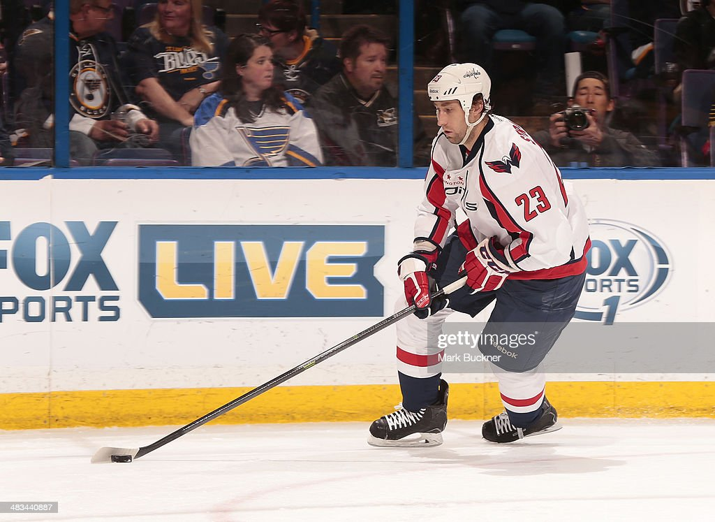 <a gi-track='captionPersonalityLinkClicked' href=/galleries/search?phrase=Tyson+Strachan&family=editorial&specificpeople=5646502 ng-click='$event.stopPropagation()'>Tyson Strachan</a> #23 of the Washington Capitals skates against the St. Louis Blues during an NHL game on April 8, 2014 at Scottrade Center in St. Louis, Missouri.