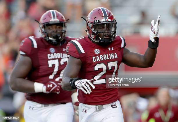Ty'Son Williams of the South Carolina Gamecocks reacts after scoring a touchdown against the Louisiana Tech Bulldogs during their game at...