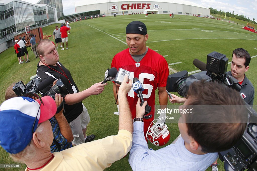 Tysyn Hartman #46 of the Kansas City Chiefs speaks to members of the media during the Kansas City Chiefs minicamp on May 13, 2012 at the Chiefs Training Facility in Kansas City, Missouri.