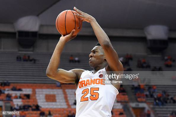 Tyus Battle of the Syracuse Orange shoots the ball against the North Florida Ospreys during the second half at the Carrier Dome on December 3 2016 in...