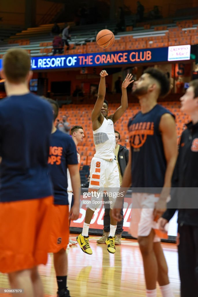 Tyus Battle #25 of the Syracuse Orange warms up with a jump shot before the game between the Syracuse Orange and the Pittsburgh Panthers on January 16th, 2018 at the Carrier Dome in Syracuse, NY.
