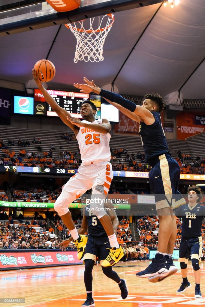 Tyus Battle #25 of the Syracuse Orange with a huge layup during the second half of play between the Syracuse Orange and the Pittsburgh Panthers on January 16th, 2018 at the Carrier Dome in Syracuse, NY.