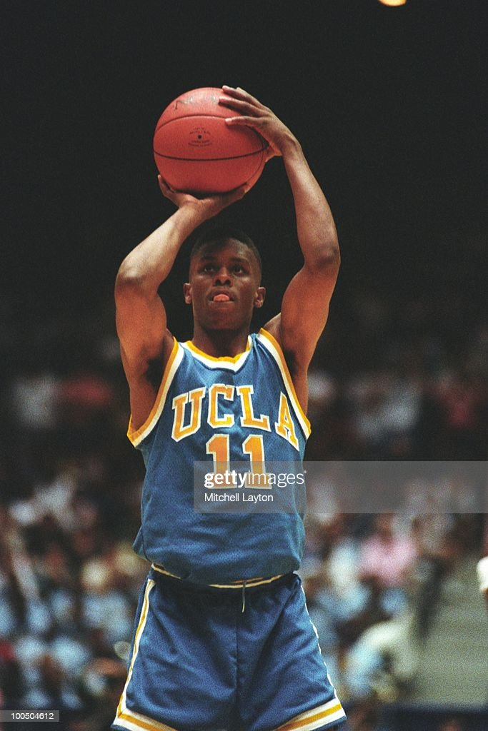 Tyus Edney #11 of the UCLA Bruins takes a foul shot during a NCAA second round basketball game at the McKale Center on March 21, 1993 in Tuscon, Arizona..