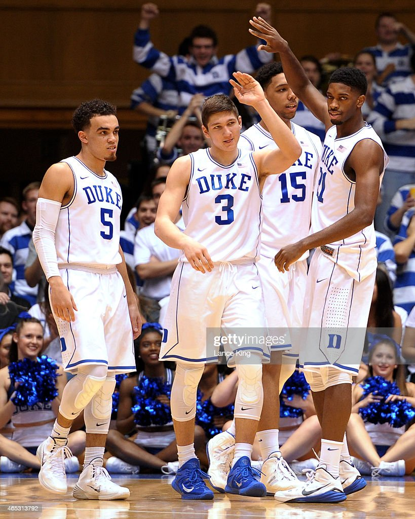 <a gi-track='captionPersonalityLinkClicked' href=/galleries/search?phrase=Tyus+Jones&family=editorial&specificpeople=10012848 ng-click='$event.stopPropagation()'>Tyus Jones</a> #5, <a gi-track='captionPersonalityLinkClicked' href=/galleries/search?phrase=Grayson+Allen&family=editorial&specificpeople=13712112 ng-click='$event.stopPropagation()'>Grayson Allen</a> #3, <a gi-track='captionPersonalityLinkClicked' href=/galleries/search?phrase=Jahlil+Okafor&family=editorial&specificpeople=9632986 ng-click='$event.stopPropagation()'>Jahlil Okafor</a> #15 and <a gi-track='captionPersonalityLinkClicked' href=/galleries/search?phrase=Amile+Jefferson&family=editorial&specificpeople=7887115 ng-click='$event.stopPropagation()'>Amile Jefferson</a> #21 of the Duke Blue Devils react following a play against the Wake Forest Demon Deacons at Cameron Indoor Stadium on March 4, 2015 in Durham, North Carolina. Duke defeated Wake Forest 94-51.